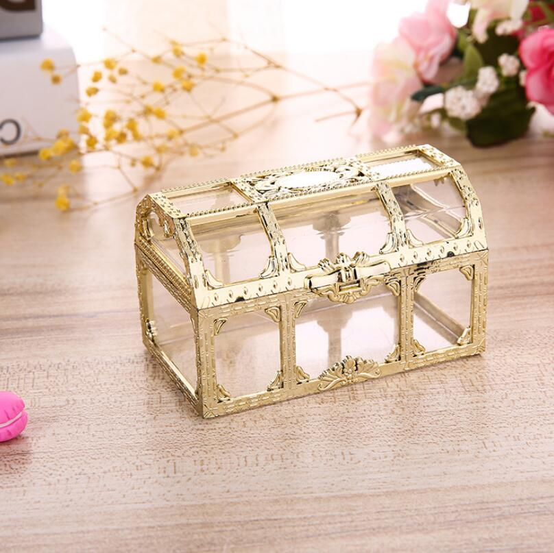 Golden Silvery Transparent Plastic Treasure Chest Wedding ...
