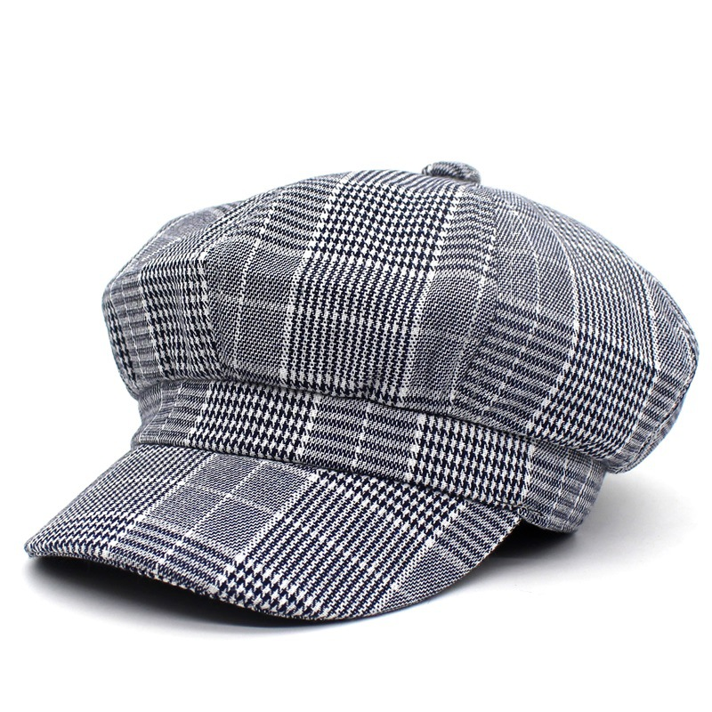 Vintage Cloth Cap Twill Plaid Newsboy Cap for Women,Grey Khaki Blue Red