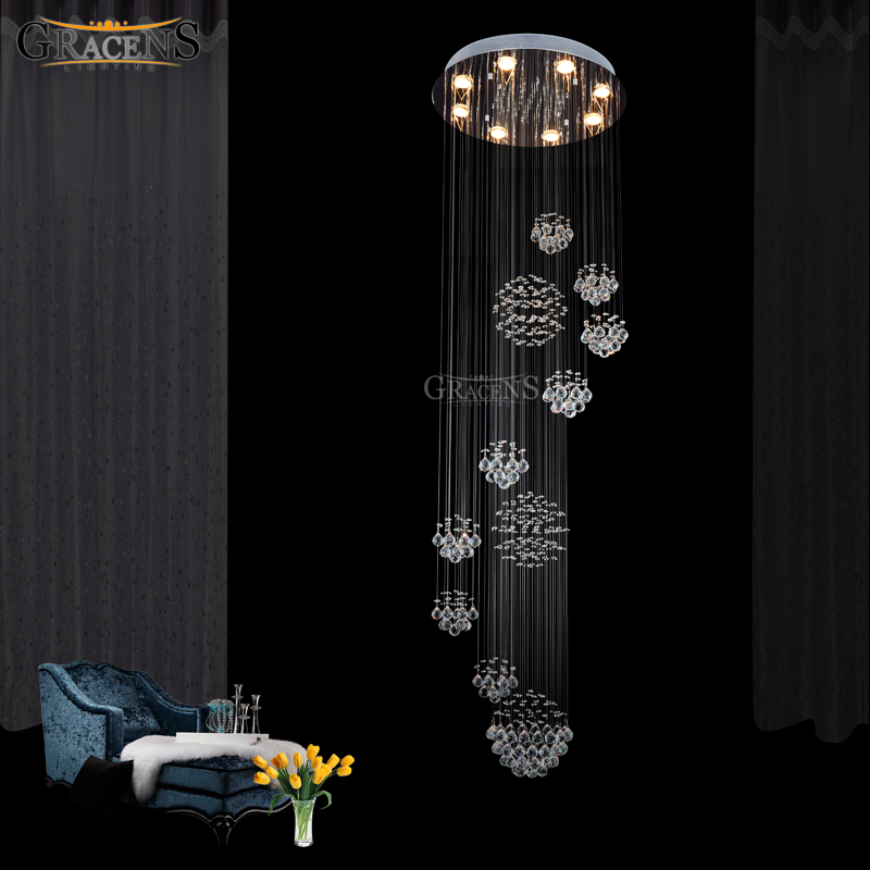 Gorgeous Large Crystal Chandelier Light Fixture Rain Meteoric Shower Stair Bar Droplight Chandelier Lighting For Hotel Lobby