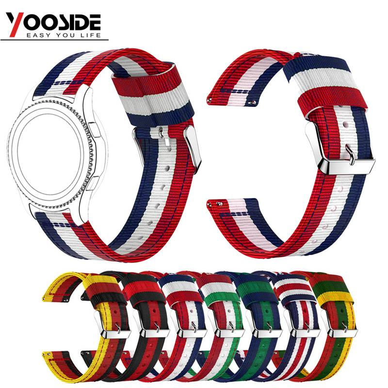 22mm Woven Nylon Band Sport Strap Wristband For Samsung Gear S3 Frontier/Classic World Flag Stripe Design