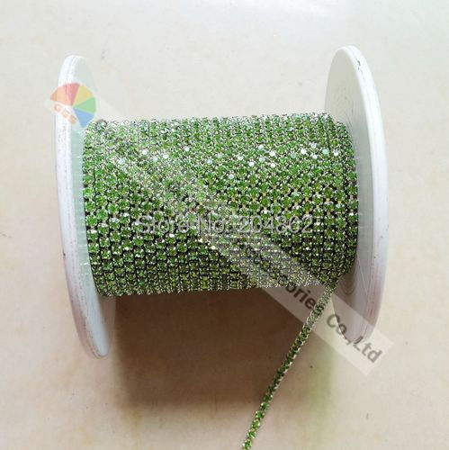 10Yards SS6 SS8 SS12 SS16 Peridot close set crystal chain rhinestone cup  chain For DIY Browbands Jewelry Findings Accessories 666fd06fb0ba