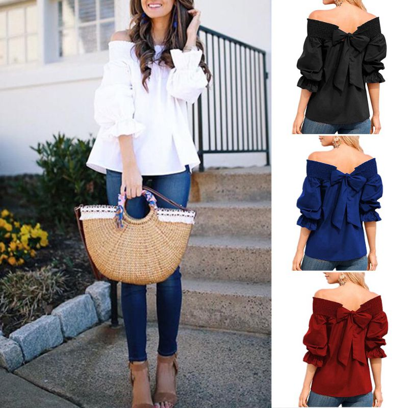 HTB1MdjVKb1YBuNjSszeq6yblFXaT - Sexy Off Shoulder Bowknot Blouse Spring Summer Strapless Women Tops Slash Neck Shirts Casual Loose Blusas Plus Size
