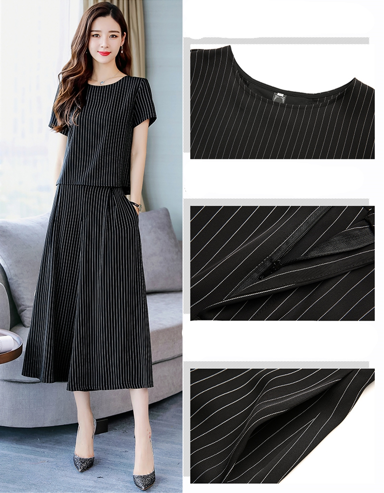 2019 Summer Striped Two Piece Sets Women Plus Size Short Sleeve Tops And Wide Leg Cropped Pants Suits Office Elegant Women's Set 46