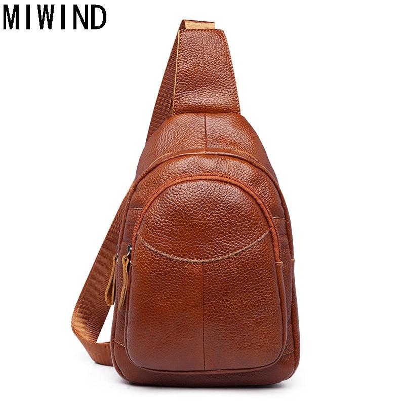MIWIND Men Chest Pack Leather Genuine Cowhide Back Bag Crossbody Bags Women Sling Shoulder Bag Back Pack Travel Bag TBP1148