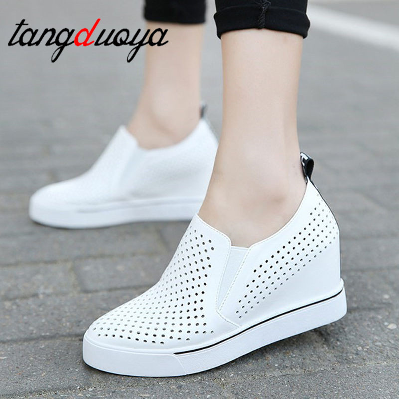 Casual Shoes Women Fashion Platform Shoes Women White Mesh Breathable Sneakers Women Black Heightening Shoes Student
