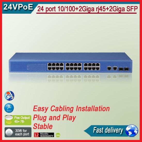 TS6126P  24 port 10/100+2Giga rj45+2Giga SFP 24v POE Switch deuter giga blackberry dresscode
