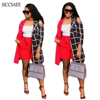 Off Shoulder Plaid Print Patchwork Two Piece Set Maxi Cardigan Short Sets For Women Checkered Outfits Plus Size Sweat Suit Sexy
