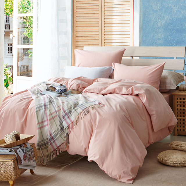 Pink solid duvet cover sets for single or double bed 100% Cotton bedcover  Plaid bedding