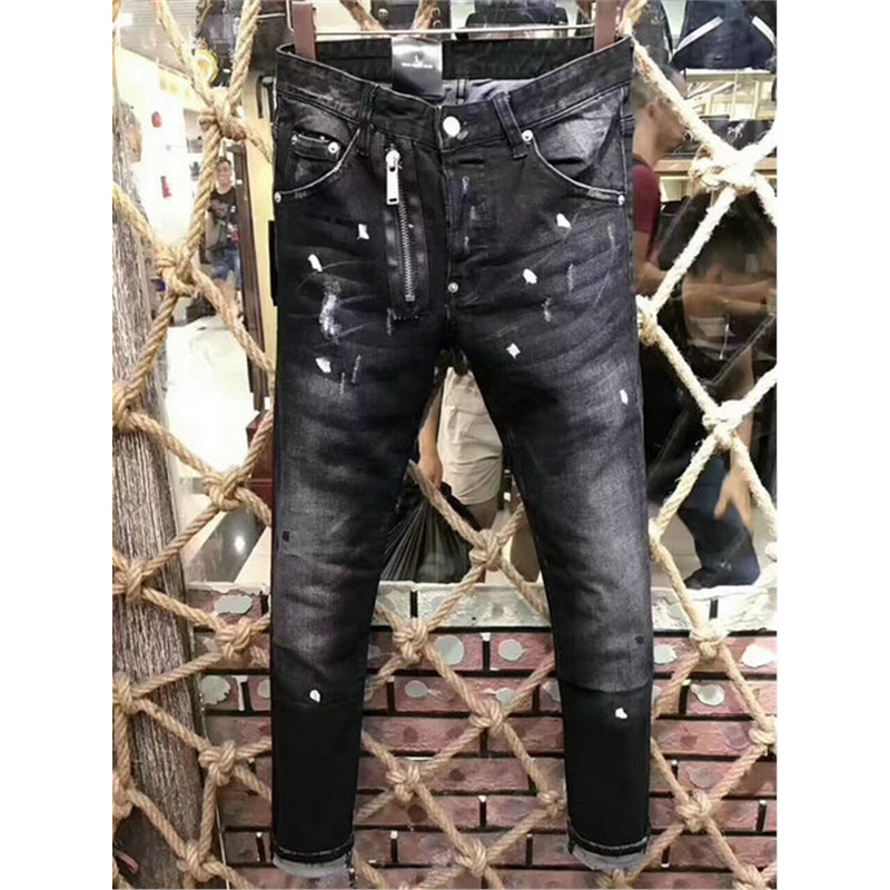 Brand 2018 New Luxury black Men's Fashion   Jeans   Business Casual Stretch Slim   Jeans   Classic Trousers Denim zipper Pants Male