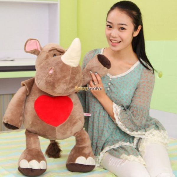 Fancytrader 31'' / 80cm Giant Stuffed Funny Plush Cute Animal Rhinoceros Toy, 2 Expressions Available! Free Shipping FT50356 fancytrader 2015 new 31 80cm giant stuffed plush lavender purple hippo toy nice gift for kids free shipping ft50367