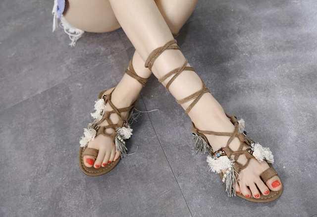 fringe lace up flat sandals