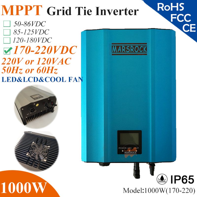 1000W MPPT solar Grid Tie Micro Inverter with IP65,170-220VDC,220V(190-260VAC) or 120V(90-140VAC),LED&LCD for solar panel system solar power on grid tie mini 300w inverter with mppt funciton dc 10 8 30v input to ac output no extra shipping fee