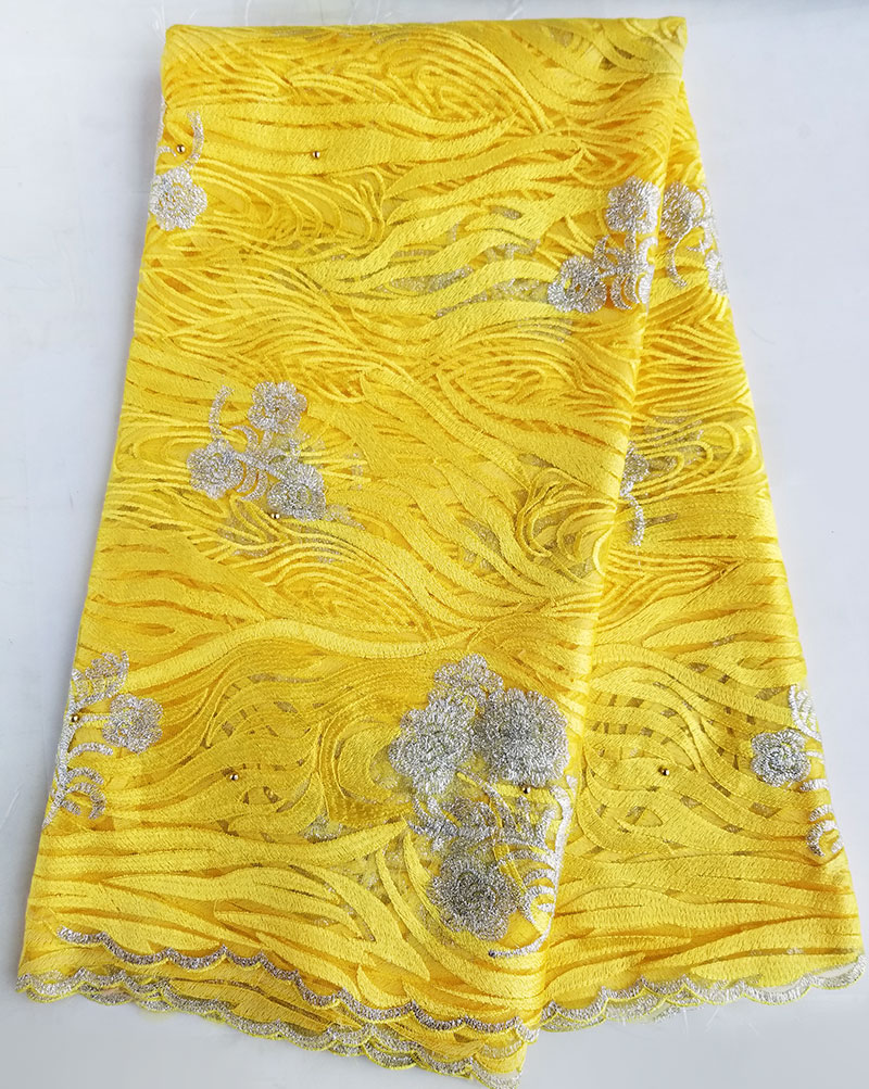 5 yards yellow silver rippled embroidery African french lace Nigerian tulle lace fabric for garment dress