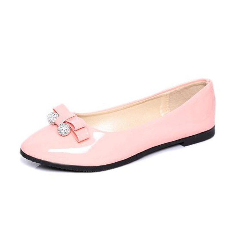 Spring Autumn Women Loafer Pointed Toe Pearl Comfortable Women Flats Shoes Slip On Fashion PU Leather Women's Flat With Shoes pu pointed toe flats with eyelet strap
