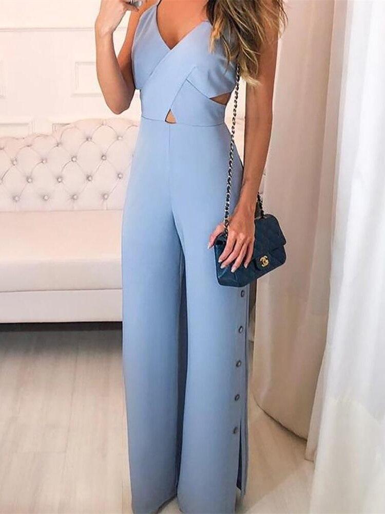 Women Elegant Blue Office Romper Leisure Overalls Sexy Summer Crisscross Spaghetti Strap V-Neck Button Slit Side Jumpsuit