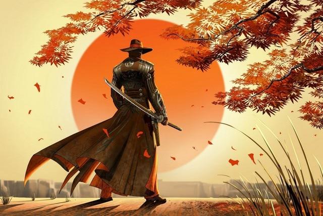 Artwork fantasy art warrior cowboys samurai japan sun beautiful