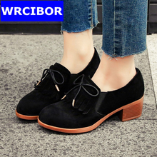 2017 NEW vintage Women Oxford shoes genuine leather Round toe Cow Muscle bottom high heels fashion Fringe women pumps shoes