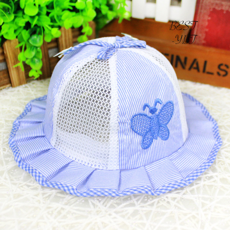 Summer Super Thin Striped Bow Mesh Embroidered Butterfly Hat With Bow Tie For Kids
