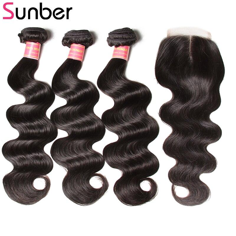 Sunber Hair Peruvian Body Wave Bundles With Closure 4*4 Lace Closure Peruvian Human Hair Weave 3 Bundles With Closure Remy Hair