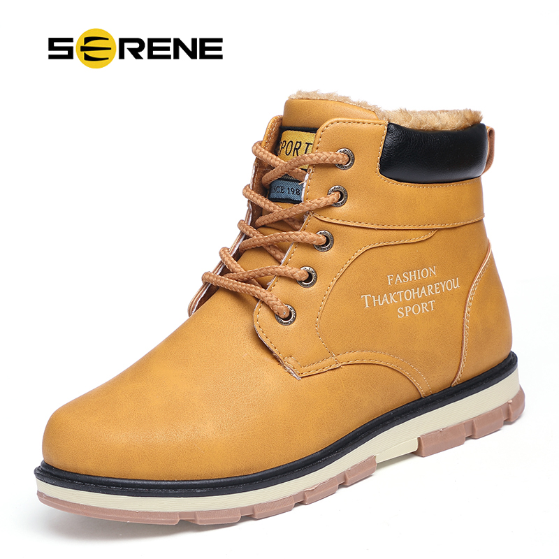 SERENE Brand Men Boots Autumn Winter Warm Fur font b Shoes b font Plus Size 39
