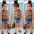 Estampa de leopardo Tops e Saia Jeans Meninas Conjuntos de Roupas 2 peças Crianças Verão Menina Marca Criança Roupas Conjuntos