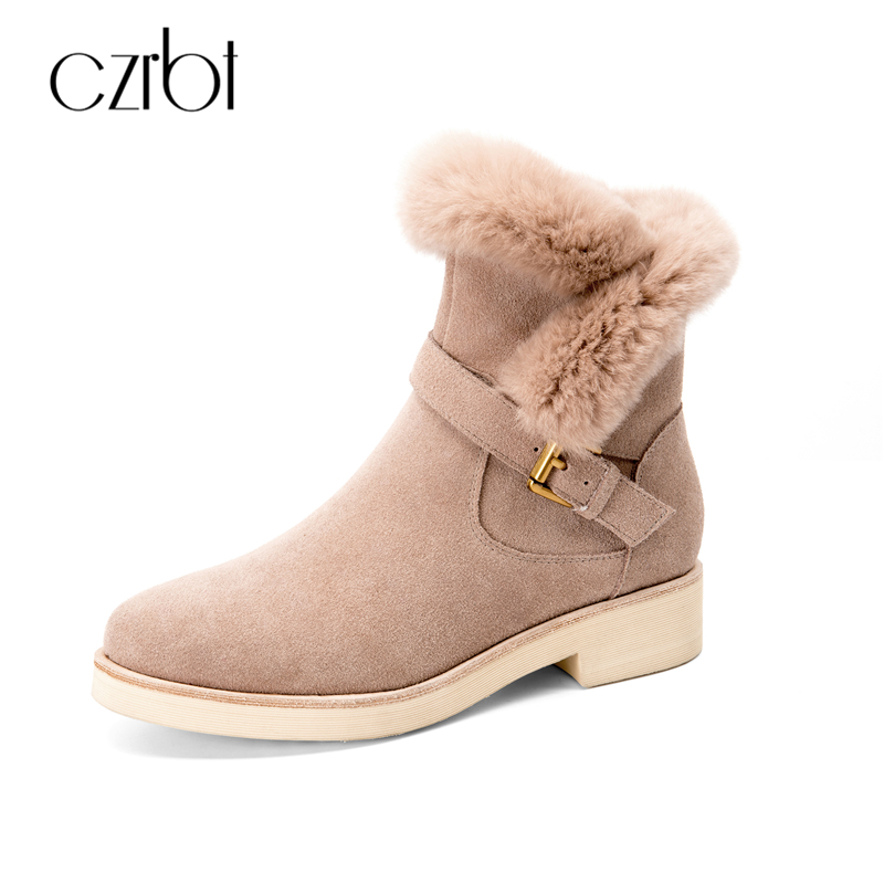 CZRBT High Quality Cow Suede Rabbit Fur Women Boots Winter Metal Buckle Wedges Heel Boots Woman Genuine Leather Ankle Boots czrbt portable solo natural genuine cow leather women height increasing 3cm heel 4cm boots ladies fashion ankle boots walking