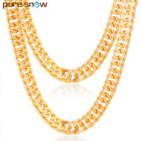 Pure Snow Brand Figaro Chain Necklace Long Choker Gold Plated 10MM Cuban Link Chain For Men
