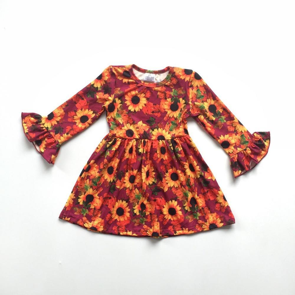 309b6298fe94a baby girls clothes Fall/Autumn dress clothing children girls sunflower  dress long sleeve dress