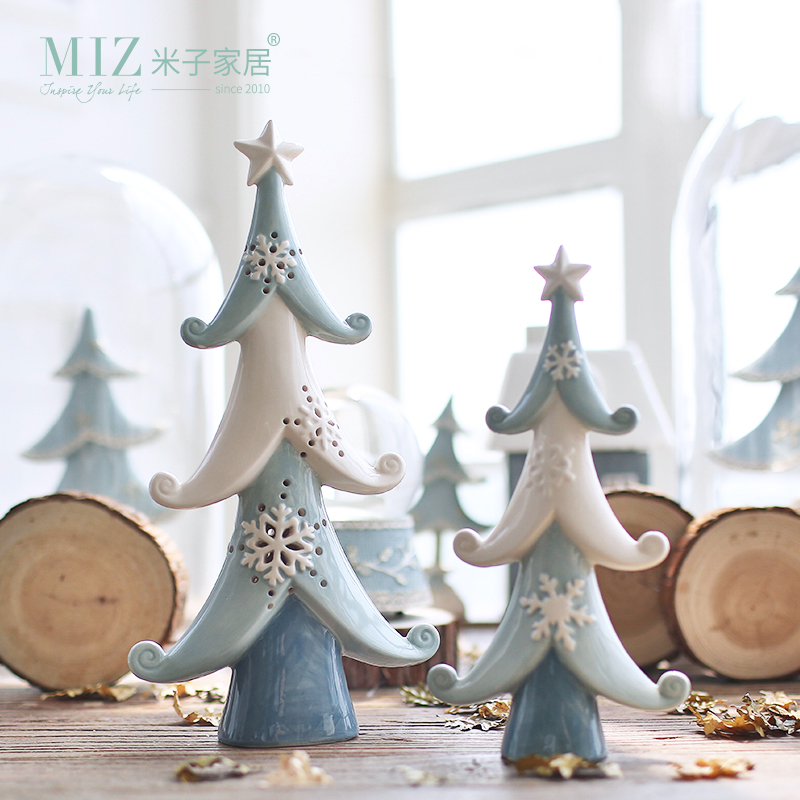 miz 1 piece ceramic christmas tree decoration christmas ornament hollow tree snowflake pine desk accessory in figurines miniatures from home garden on - Ceramic Christmas Decorations