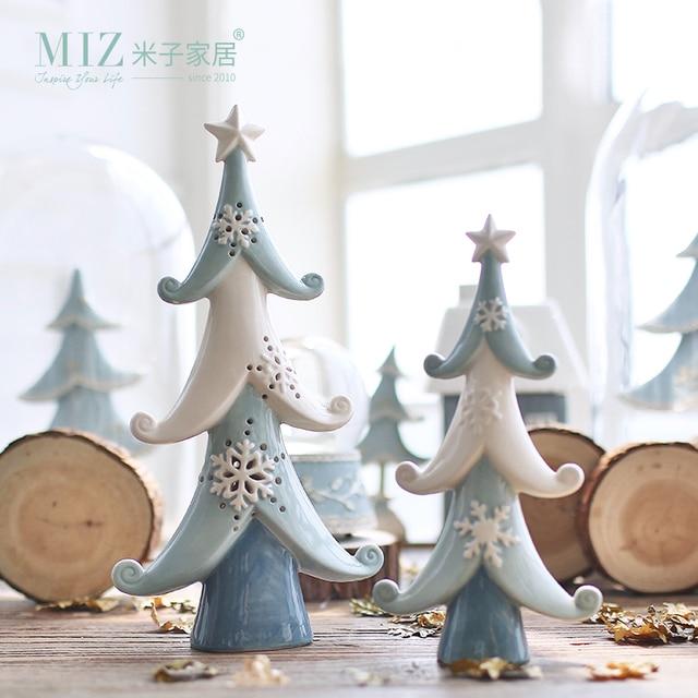 Us 30 78 Miz 1 Piece Ceramic Christmas Tree Decoration Christmas Ornament Hollow Tree Snowflake Pine Desk Accessory In Figurines Miniatures From