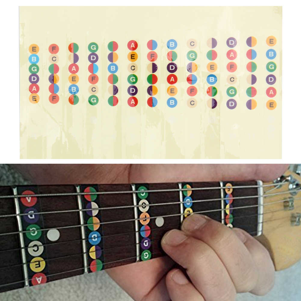 Professional Practical Guitar Musical Scale Sticker Coded Note Strips For Guitar Trainer Learner Guitar Parts Accessories