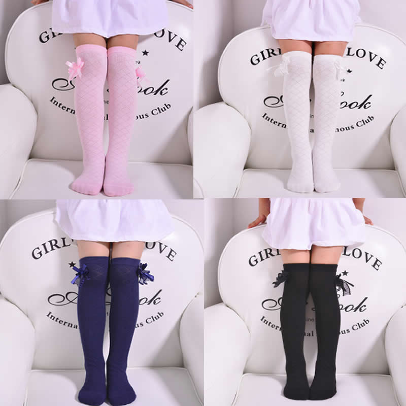 Kids Fall Tube Socks Rhombus Lattice Girl Princess Socks Cotton Lace Bowknot Thin Cotton 100% Knee High Above Long Socks