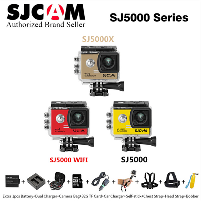 Original SJCAM SJ5000 Series SJ5000 & SJ5000 WIFI & sj5000x Elite Edition 4K action sport Waterproof Camera DV Optional Package 2 0 4k sjcam sj5000 series sj5000x elite wifi ntk96660 mini gyro 30 waterproof sports action camera sj cam dvr many accessories