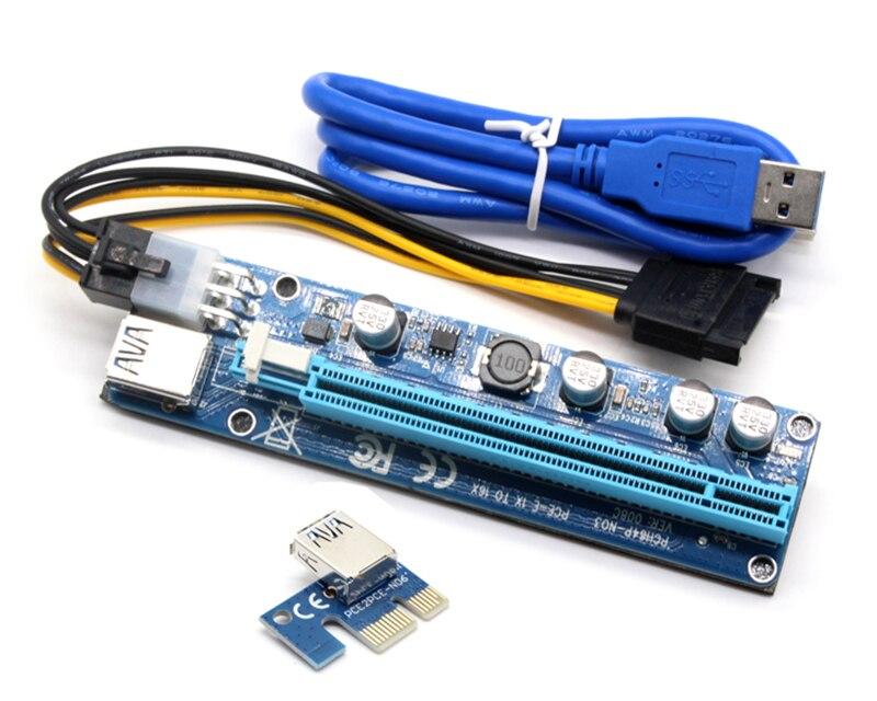 JONSNOW 008C PCIE RISER 6PIN 16X pour BTC minière avec LED Express Card avec Sata Câble D'alimentation et 60 cm USB Qualité Câble