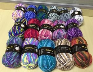 Image 2 - 5 шт. = 500 г цветная молочная хлопчатобумажная пряжа, Смешанная шерстяная пряжа для вязания крючком, необычная пряжа, вязаный свитер, шарф, 7 шт., BR124