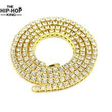Hip Hop de la Cadena de Oro 1 Filas de Diamantes Simulados de Hip-Hop Collar de Cadena 24 inch-36 inch Hombres Oro Tono Helado Punk Collar