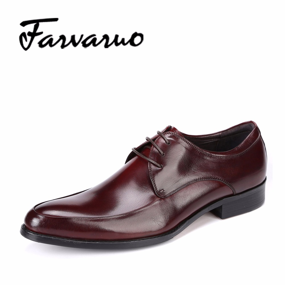 British Style Genuine Leather Mens Flats Derbys Lace Shoes Formal Wedding Italian Red Dress Shoes for Men Black Casual Oxfords top quality crocodile grain black oxfords mens dress shoes genuine leather business shoes mens formal wedding shoes