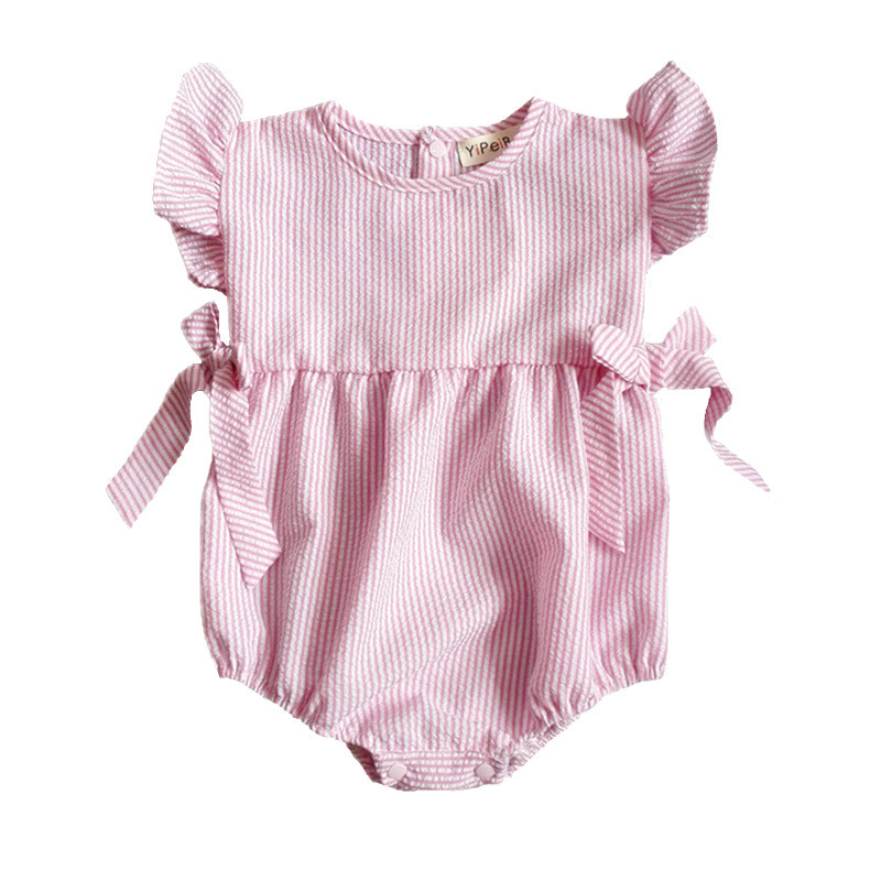 New 2017 Summer Baby Girls Clothing Stripe Cotton Baby Girl Romper for Newborn Baby Clothes Overall Ropa Bebes Baby Jumpsuit P16 baby girl clothes newborn clothing short sleeve heart minnie crown romper tutu dress headband 3pcs summer bebes clothes sets