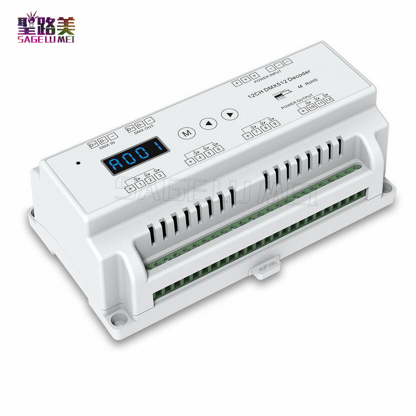 12 Channels 12CH CV DMX512 Decoder;DC5V-36V input;5A*12CH output with display for setting DMX address For led rgb led strip tape m3 m4 5a m3 touch rf remote with m4 5a cv receiver led dimmer controller dc5v dc24v input 5a 4ch max 20a output