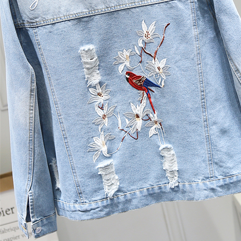 Spring Autumn Women Coat Fashion Floral Bird Embroidery Denim Jacket 2019 New Female Loose Long Sleeve Jean Outerwear Tops NO712