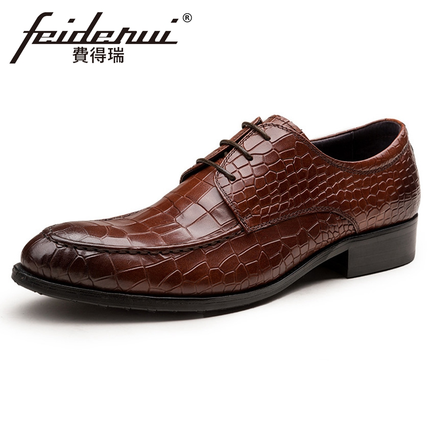 2018 New Arrival Alligator Men's Formal Dress Footwear Genuine Leather Round Toe Lace-up Man Derby Wedding Party Shoes YMX418 elanrom summer men formal derby wedding dress shoes cow genuine leather lace up round toe latex height increasing 30mm massage