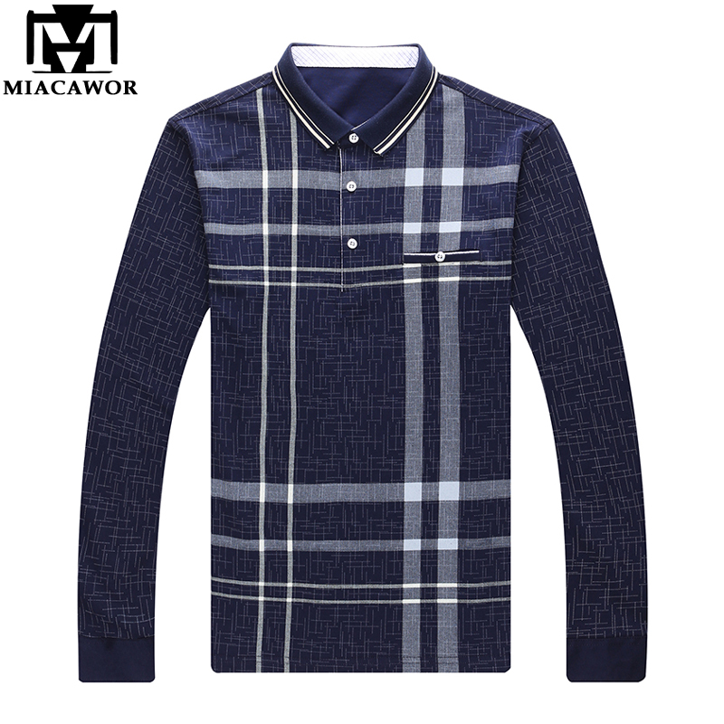 MIACAWOR New Brand Men Polo Shirt Plaid Polo Homme Camisa Polo Masculino Spring Long Sleeve Casual Tee Shirts Men Clothing T712