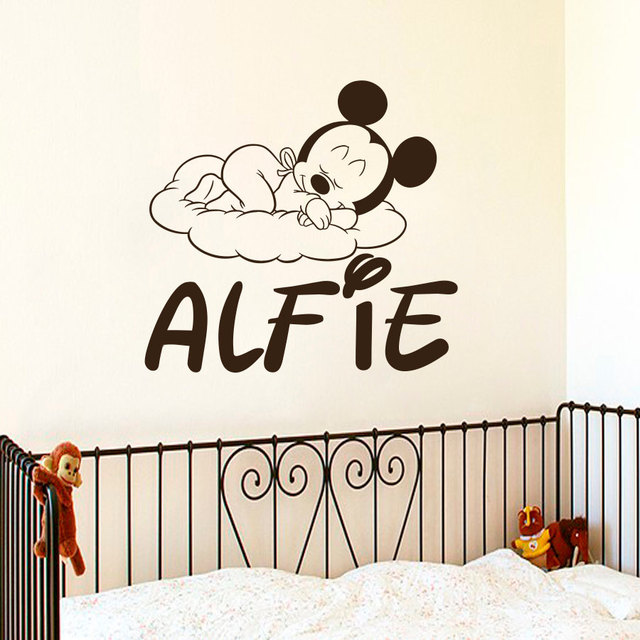 Loving Mickey Mouse Cute Little Pattern Wall DecalsSuctomed Name Nursery Bedroom Decorative Vinyl Sticker Wallpaper