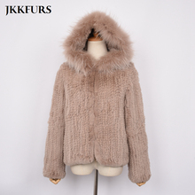 New Design Womens Real Knitted Rex Rabbit Fur Coat With Raccoon Collar Hood Winter Warm Fluffy Top Quality S7434