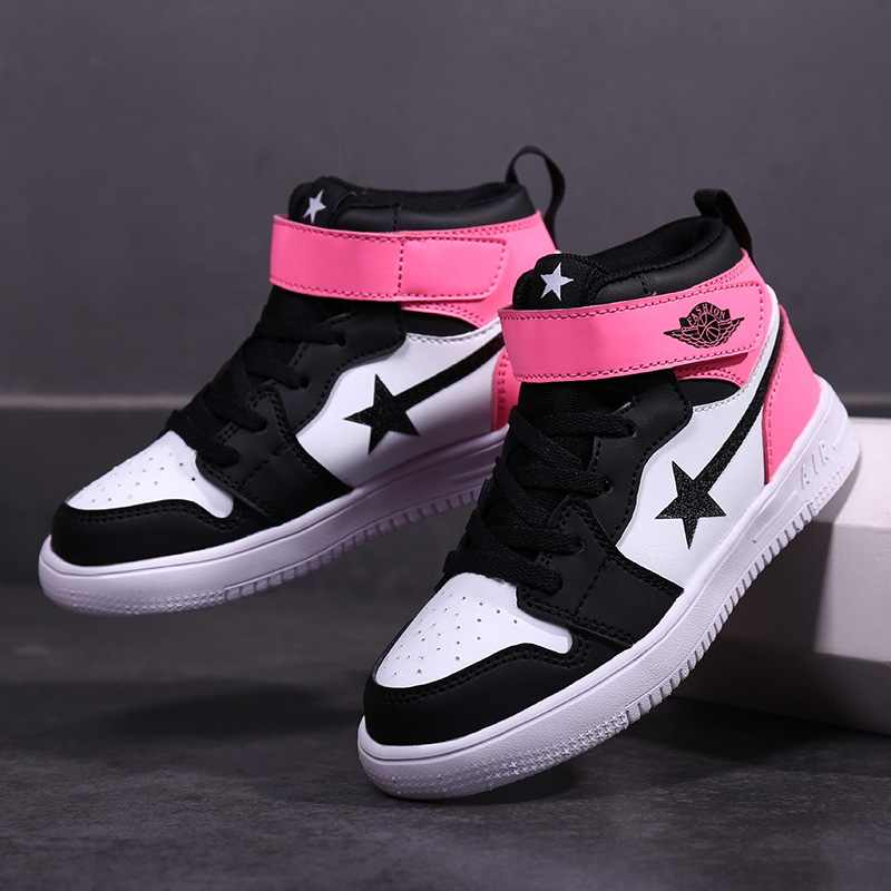 Children's shoes autumn winter breathable sweat sweat sports shoes students non-slip high help shoes