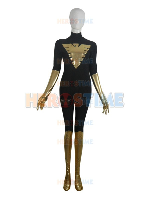 Lycra Spandex Phoenix Costume black and gold X-men Superhero Costume full body zentai suit no hood for halloween cosplay party