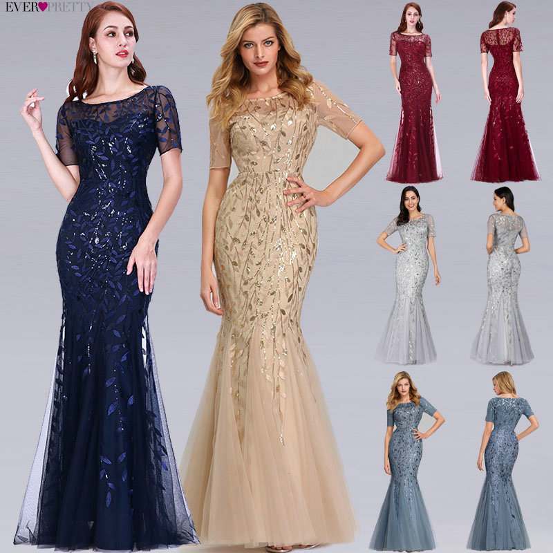 Plus Size Saudi Arabia Prom Dresses 2019 Ever Pretty EZ07707 Short Sleeve Lace Appliques Tulle Mermaid Long Dress Party Gowns