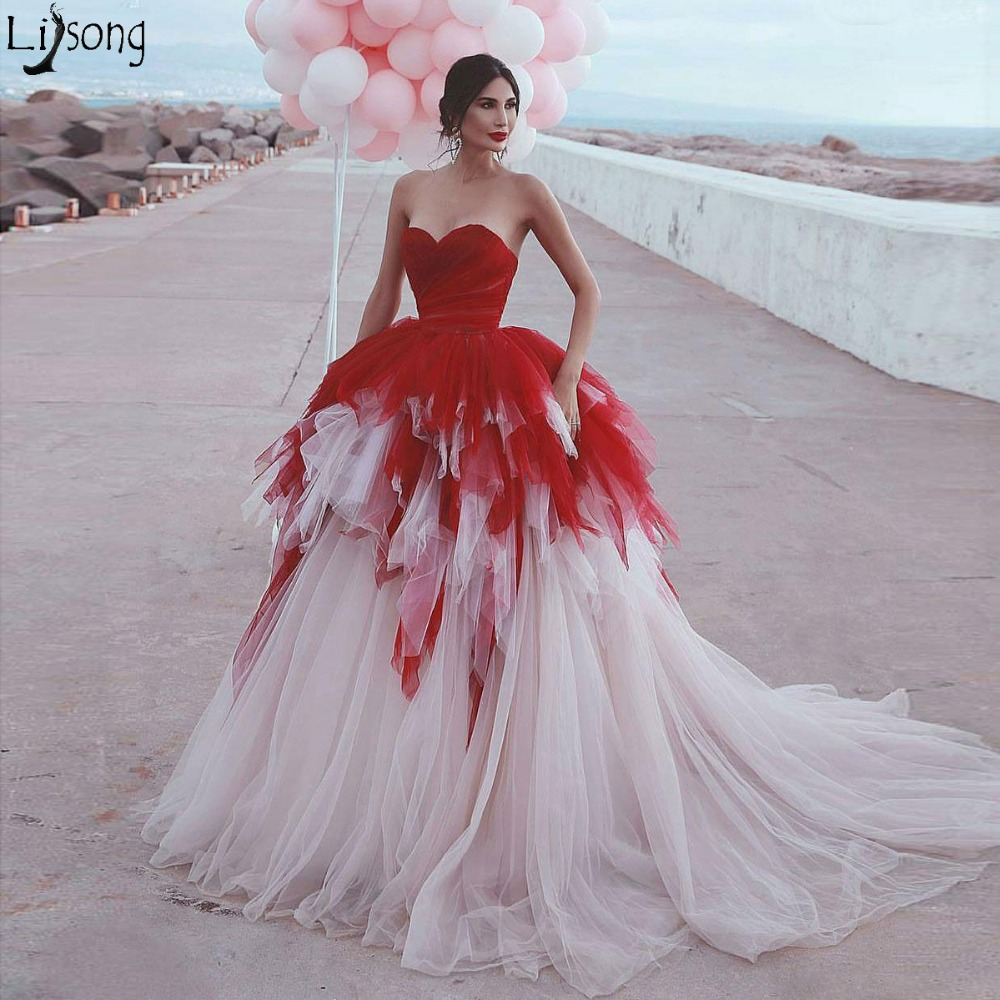 2019 New Mixed Color Long   Prom     Dresses   Off the Shoulder Sweetheart Chic Evening   Dress   Tiered Tulle Court Train Robe de soiree