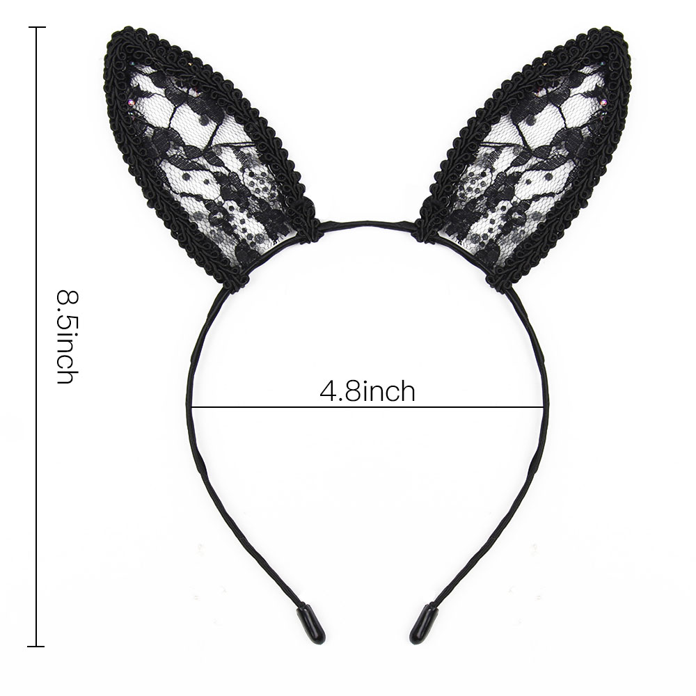 Women Lace Headband with Rhinestone Sexy Lady Ears Hairband Fashion Hair Hoop Handmade Girls Hair Accessories in Women 39 s Hair Accessories from Apparel Accessories