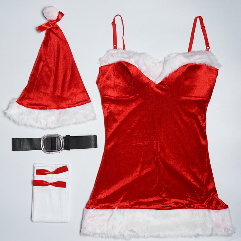 2017-New-Arrival-Costume-Cosplay-For-Adult-Christmas-Dresses-Women-Velvet-Dress-Belt-Hat-Stocking-Christmas (1)